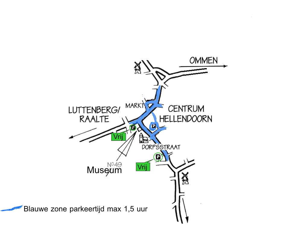 bakkerij ijsmuseum, parkeren, blauwe zone Hellendoorn